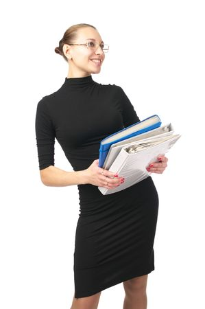Cheerful young woman with folders over white background photo