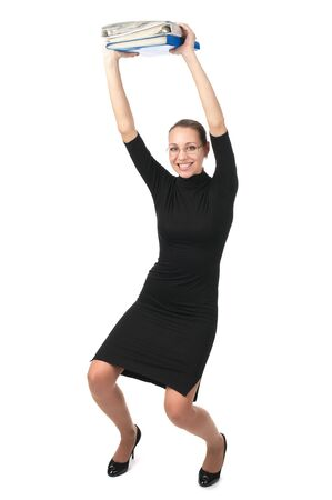 skintight: Happy business woman holding folders over head