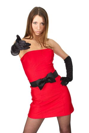 Beautiful girl in little red dress choose you Stock Photo - 6657277