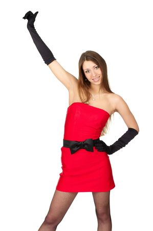 Attractive sexy female in little red dress over white background photo
