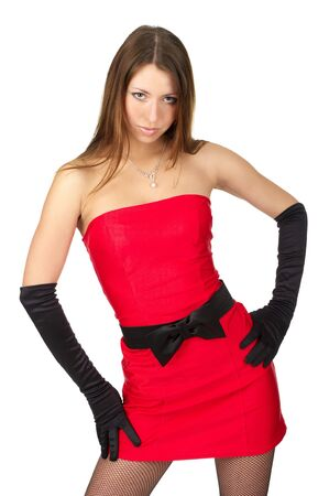 Attractive sexy female in little red dress and evening gloves over white background Stock Photo - 6744824