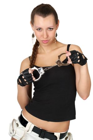 Beutiful sexy woman with handcuffs isolated over white photo