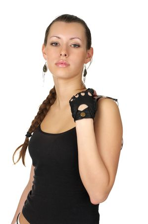 arrest women: Beutiful sexy woman with handcuffs isolated over white Stock Photo