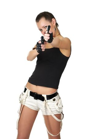 Young female with two small guns isolated over white photo