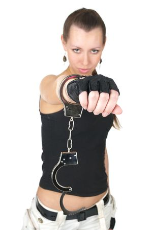 Beautiful sexy woman with handcuffs, shallow depth of field Stock Photo - 6810760