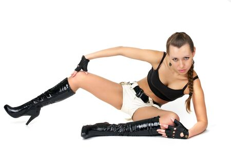 Amazing sexy girl in black jackboots isolated over white Stock Photo - 6867588