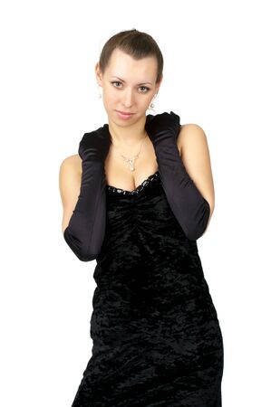 Fashion girl in black dress and evening gloves over white background Stock Photo - 6867594