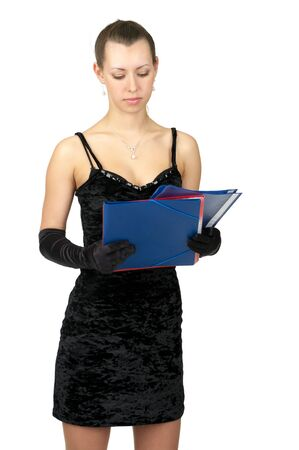 Fashion girl in black dress and evening gloves with several folders over white background photo