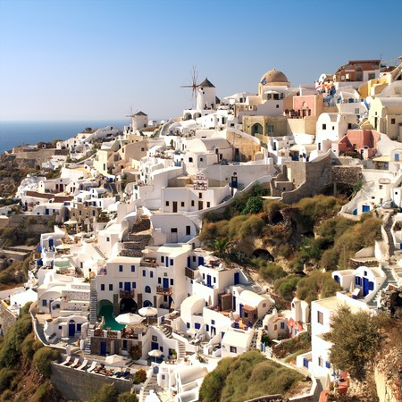 Amazing landscape view of Oia village in Santorini island. photo