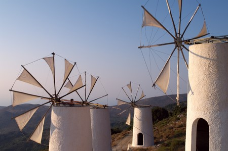 Tradition windmills on Crete island, Greece (Lassithi) Stock Photo