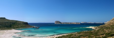 Scenic view of Balos bay (Gramvousa, Crete, Greece) photo