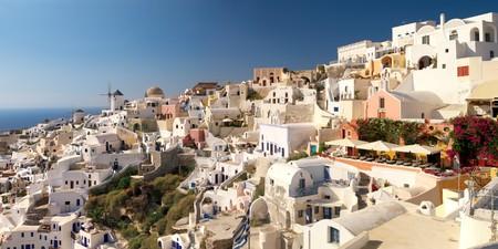 Amazing landscape view of Oia village in Santorini island. Stock Photo