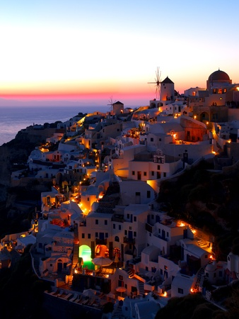 A late evening at Oia village, Santorini. Greece.