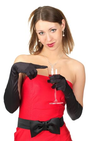 Cute young female in evening dress with glass of red wine. Isolated over white background Stock Photo - 9206963