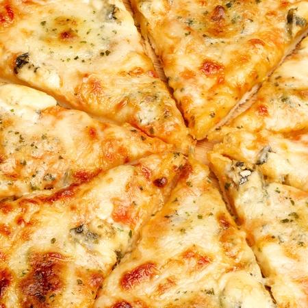 Closeup view of four cheese pizza Stok Fotoğraf