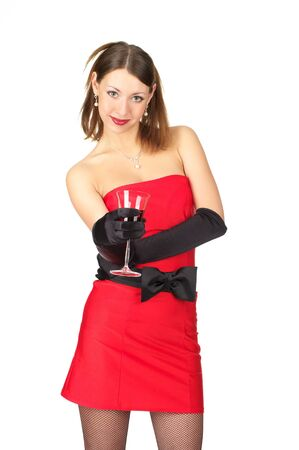 Pretty young female in evening dress with glass of red wine. Stock Photo - 9206995