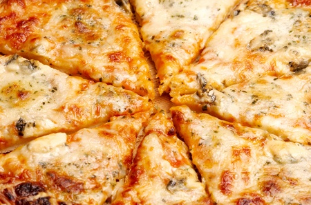 Closeup view of four cheese pizza photo