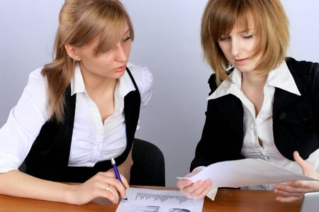 Two businesswoman having a meeting in office Stock Photo