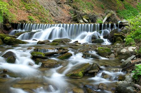 Summer forest with brook and small cascades photo