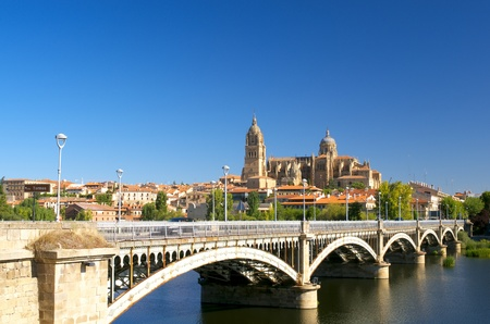 Scenic view to Salamanca Cathedral with bridge over Tormes river iew to Salamanca Cathedral with bridge over Tormes river Stock Photo