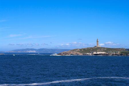 View to Hercules lighthouse in Coruna, Spain. (Torre de Hercules) photo