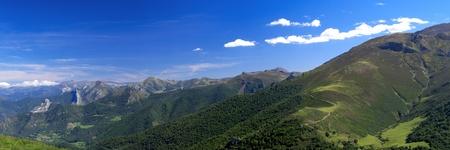Panoramic view of Cantabrian Mountains, Asturias. Spain.