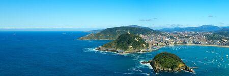 Panoramic view to the San Sebastian bay and city (Donostia). Stock Photo