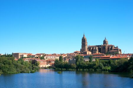 View to Salamanca Cathedral reflected in water of Tormes river