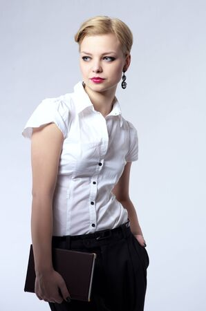 Fashionable portrait of beautiful young business woman Stock Photo