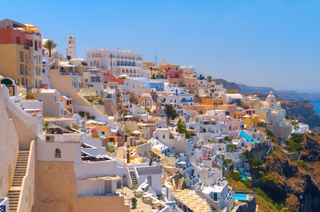 Amazing view of beautiful Thira village at the Santorini island, Greece. Stock Photo