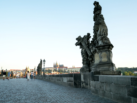 Charles bridge early in the morning in Prague, Czech Republic. Editorial