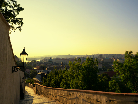 early morning: Beautiful landscape of Prague at early morning in sunrise time