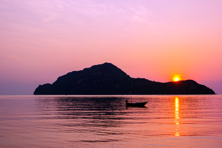 Amazing sunrise over small island