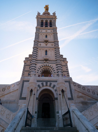 Entrance to the Notre-Dame de la Garde (Our Lady of the Guard), a Catholic basilica in Marseille, France Editorial