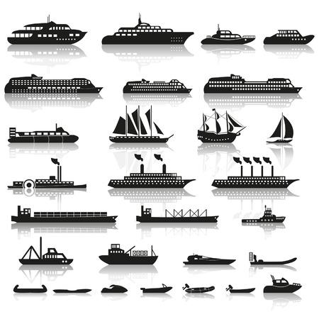 camión cisterna: Conjunto de buques y barcos Vectores