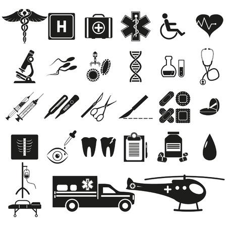 emergency kit: Medicine icons set Illustration