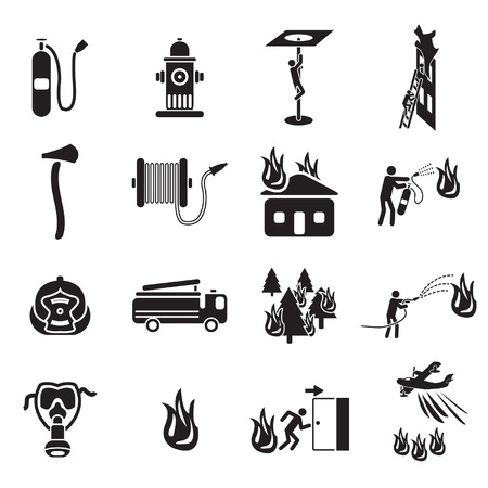 Firefighting icons set Vettoriali