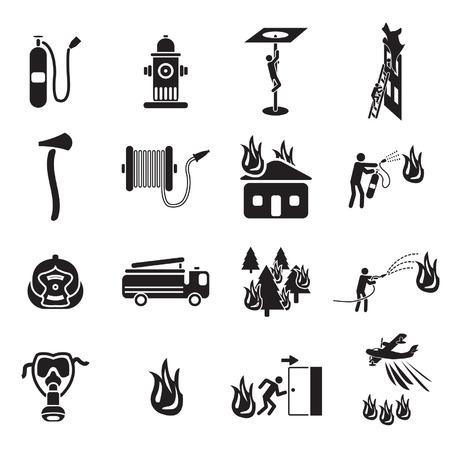 incendio casa: Iconos de lucha contra incendios establecidos Vectores