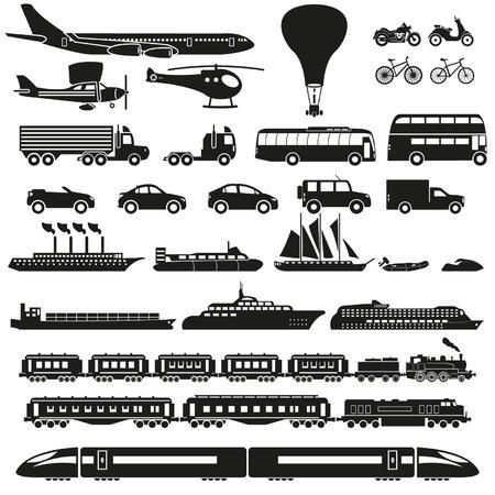Iconos del transporte fijados Foto de archivo - 24660123