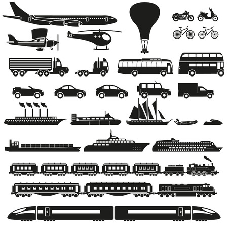 passenger vehicle: Iconos del transporte fijados