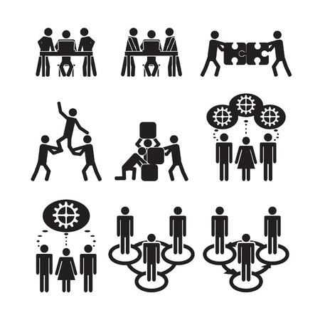 icônes de Travail d'équipe mis