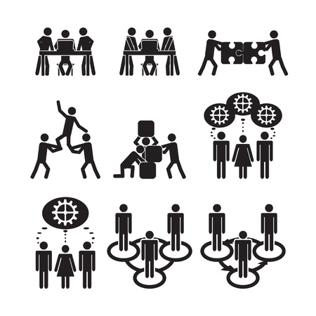 building activity: Teamwork icons set Illustration