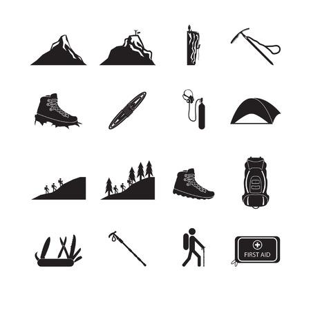 ハイキングや登山のアイコンを設定  イラスト・ベクター素材