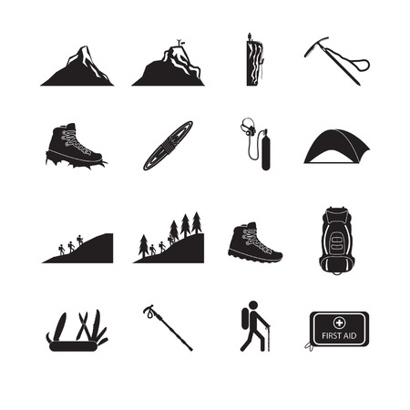 Hiking and mountain climbing icon set Vector