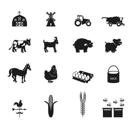 spelt: Farm icons set Illustration