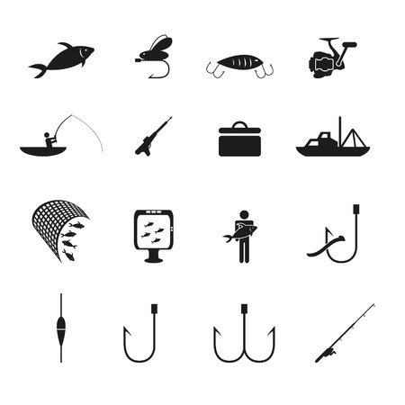 redes de pesca: Iconos de pesca establecidas Vectores
