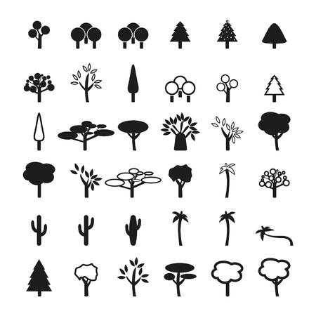 Set van boom-iconen Stock Illustratie