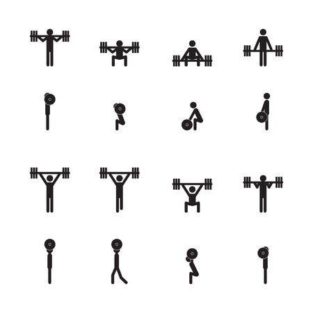 weightlifting: Weightlifting icon set Illustration