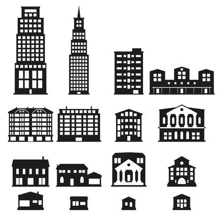 Gebouwen - gebouwen icon set Stock Illustratie