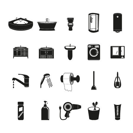 Badkamer pictogrammen instellen Stock Illustratie
